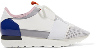Balenciaga - Race Runner Leather, Mesh And Neoprene Sneakers - White $695 thestylecure.com