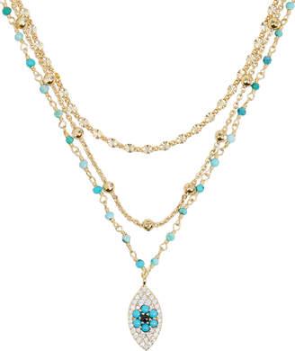 ela rae Lina Turquoise & Smokey Quartz Chain Necklace
