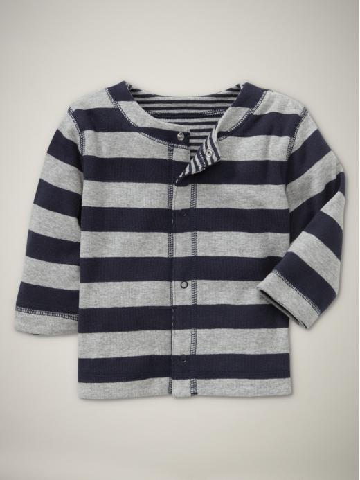 Reversible striped knit cardigan