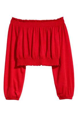 H&M Off-the-shoulder Top - Red - Women