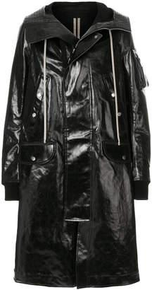 Rick Owens hooded shiny raincoat