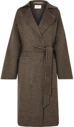Nanushka - Alamo Belted Houndstooth Wool And Silk-blend Coat - Brown