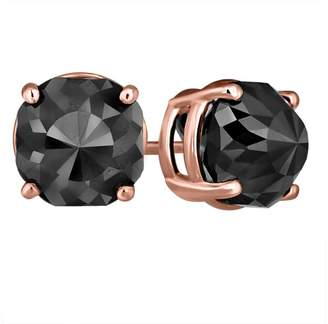 Black Diamond 14K Pink Gold Luv Eclipse 6ct Patented Cut Treated Earrings