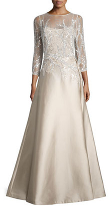 Rickie Freeman for Teri Jon 3/4-Sleeve Embellished Ball Gown, Champagne $960 thestylecure.com