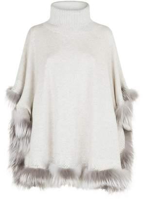 William Sharp Crystal Fur Trim Poncho