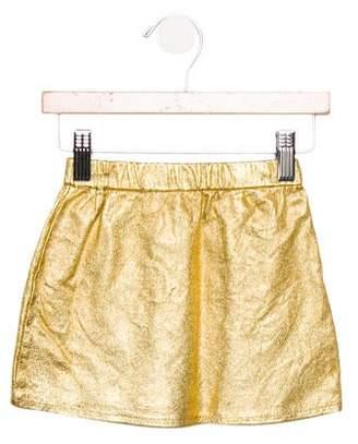 Loud Apparel Girls' Leather Metallic Skirt