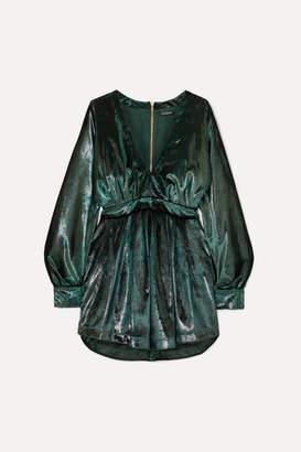 Balmain Gathered Metallic Velvet Mini Dress - Green