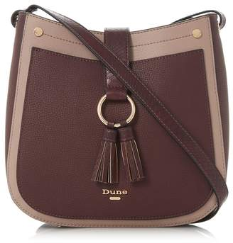 Dune Dark Red 'Doory' Small Double Tassel Cross Body Bag