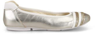 Hogan Wrap-h144 Pale Gold Leather Flats