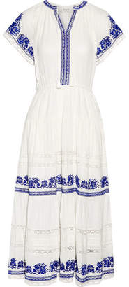 SEA - Crochet-trimmed Embroidered Cotton-gauze Midi Dress - Ivory $495 thestylecure.com