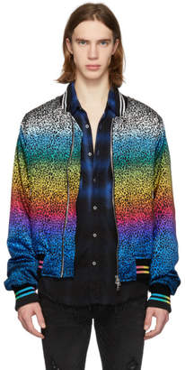 Amiri Black and Multicolor Silk Rainbow Leopard Bomber Jacket