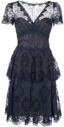 Marchesa flared lace dress