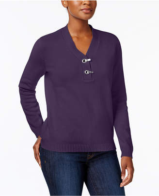 Karen Scott Metallic-Hardware Cotton Sweater, Created for Macy's