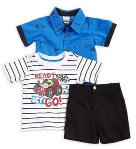 Nannette Baby Boy's Three-Piece Printed Collared Shirt, Striped Tee and Shorts Set