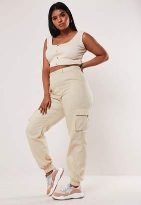 Missguided Plus Size Cream Plain Cargo Pants