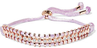 Jemma Wynne - 18-karat Rose Gold, Diamond And Cord Bracelet