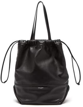 Saint Laurent Harlem Drawstring Leather Tote Bag - Womens - Black