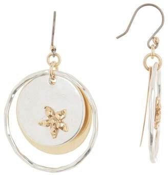 Lucky Brand Two-Tone Layered Flower Drop Earrings