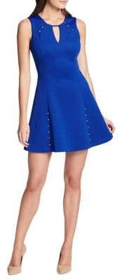 GUESS Studded Fit-and-Flare Mini Dress