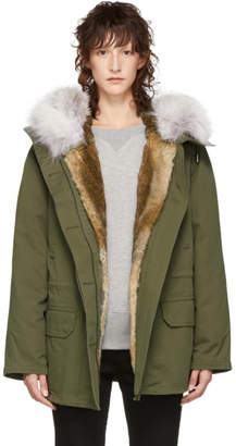 Yves Salomon Army Green Fur-Lined Classic Short Parka