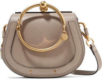 Chloé Nile Bracelet Small Textured-leather And Suede Shoulder Bag - Gray