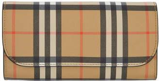 Burberry Beige and Black Vintage Check Halton Wallet