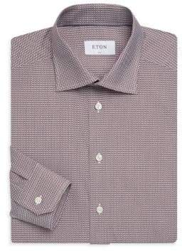 Eton Men's Slim-Fit Woven-Print Shirt - Pink Red - Size 17