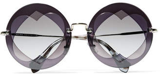 Miu Miu Round-frame Layered Acetate And Gold-tone Sunglasses - Purple