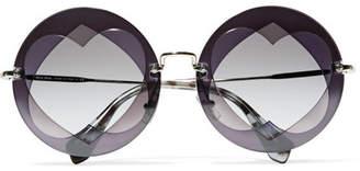 Miu Miu Round-frame Layered Acetate And Gold-tone Sunglasses - Purple