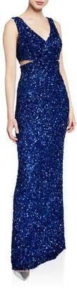 Parker Fernanda Beaded V-Neck Sleeveless Column Gown