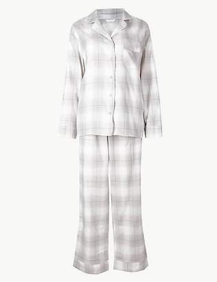 Marks and Spencer Checked Long Sleeve Pyjama Set
