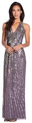 Adrianna Papell Womens Grey Beaded Halter Gown - Grey