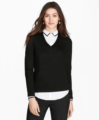 Brooks Brothers Beaded Merino Wool V-Neck Sweater