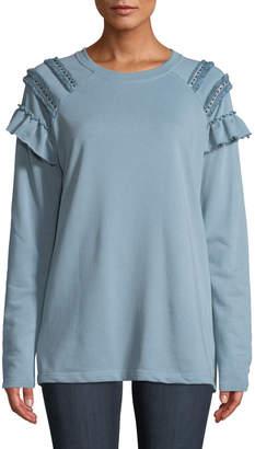 Lumie Shoulder-Fringe Crewneck Sweatshirt, Blue