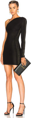 Balmain Lace Up One Shoulder Mini Dress