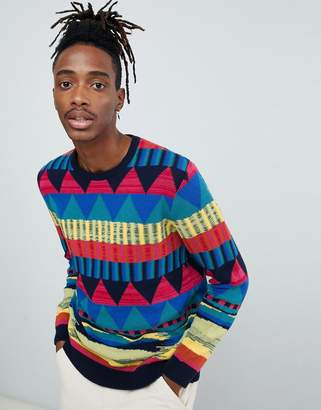 Asos DESIGN knitted sweater with geo rainbow pattern