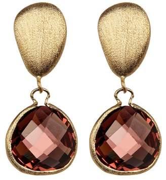 Rivka Friedman Raspberry Tourmaline Crystal Teardrop Pebble Earrings