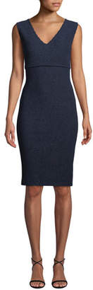 St. John V-Neck Sleeveless Ottoman Wave Knit Dress w/ Back Slit