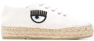 Chiara Ferragni eye detailed espadrille sneakers
