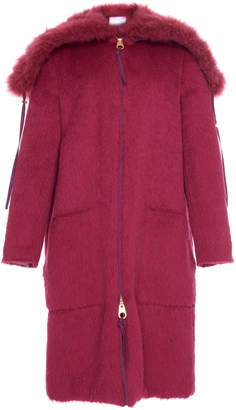 Agnona Alpaca Coat With Shearling Collar