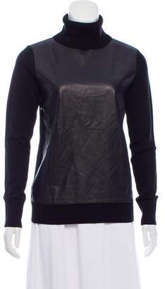 Equipment Leather-Accented Wool Sweater