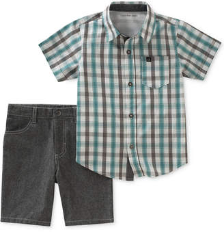 Calvin Klein 2-Pc. Plaid-Print Cotton Shirt & Shorts Set, Baby Boys