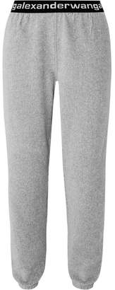 Alexander Wang Intarsia-trimmed Stretch Cotton-blend Corduroy Tapered Track Pants - Gray