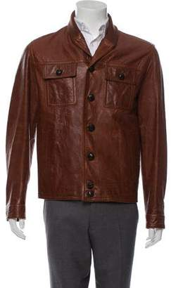 Gucci Rib Knit-Trimmed Leather Jacket