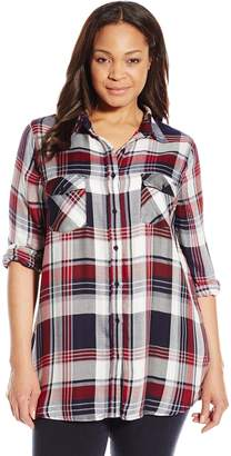 BB Dakota Women's Plus-Size Noma Plaid Button Down Top