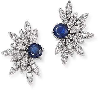 Bloomingdale's Blue Sapphire & Pavé Diamond Statement Earrings in 14K White Gold - 100% Exclusive