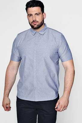 boohoo Big And Tall Spot Print Chambray Shirt