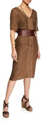 Brunello Cucinelli Paillette Linen/Silk Dress