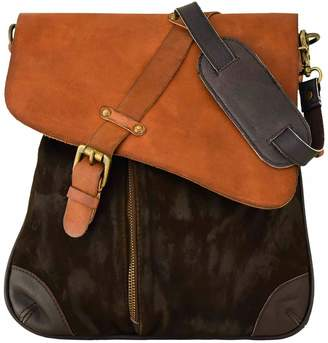 Vintage Addiction Foldover Asymmetric Suede And Leather Messenger Bag