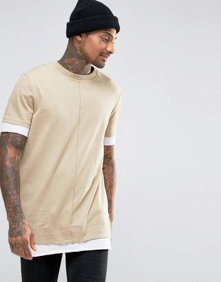 Asos Super Longline T-Shirt In Heavy Jersey With Contrast Hem And Cuff In Beige